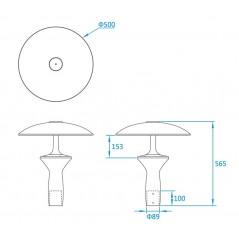 LED Parkų šviestuvas V07A-A + Blue, 30W, 60W