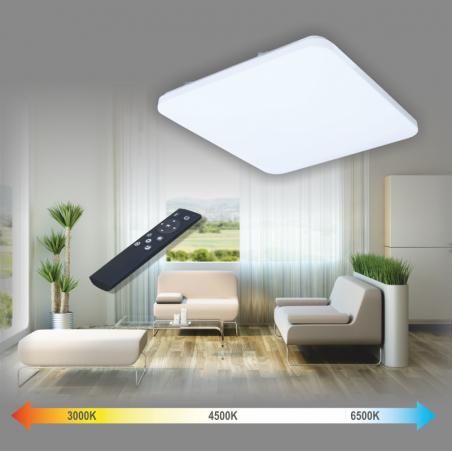 Kvadratinis lubinis 72W LED šviestuvas su belaidžiu šviesos ryškumo ir šviesos spektro reguliavimu