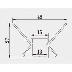 Užglaistomas LED profilis BN-O 3000mm su matiniu sklaidytuvu