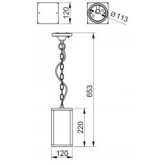 Lubinis pakabinamas šviestuvas VENTANA-H, 1xE27