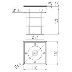 Grindinio šviestuvas ALFA-K, GU10, IP67, IK10