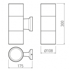 Sieninis šviestuvas BALEO 2, Pilkas 2xE27