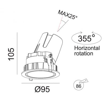 Įmontuojamas reguliuojamas LED šviestuvas LUCENT R1300 10W, 3000K, 40°