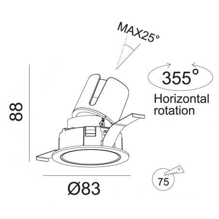 Įmontuojamas reguliuojamas LED šviestuvas LUCENT R1343 8W, 3000K, 30°