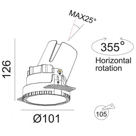 Priglaistomas reguliuojamas LED šviestuvas LUCENT R1301 20W, 3000K, 40°