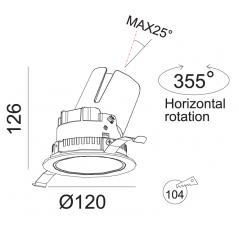 Įmontuojamas reguliuojamas LED šviestuvas LUCENT R1302 20W, 3000K, 40°