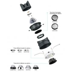 Įmontuojamas reguliuojamas LED šviestuvas LUCENT R1304 30W, 3000K, 40°  - 3