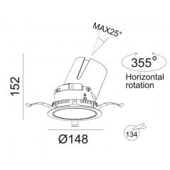 Įmontuojamas reguliuojamas LED šviestuvas LUCENT R1304 30W, 3000K, 40°
