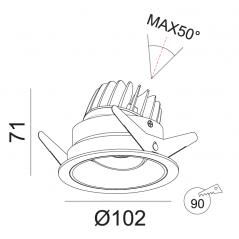Įleidžiamas reguliuojamas LED šviestuvas TIFFANY R1357 10W, 3000K, 36°