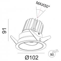 Įleidžiamas reguliuojamas LED šviestuvas TIFFANY R1358 15W, 3000K, 36°