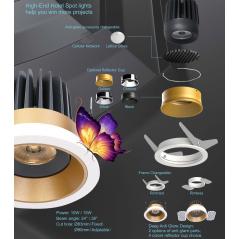 Užglaistomas reguliuojamas LED šviestuvas TIFFANY R1360 15W, 3000K, 36°  - 1