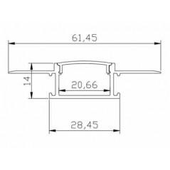 Užglaistomas LED profilis BN-P 3000mm su matiniu sklaidytuvu