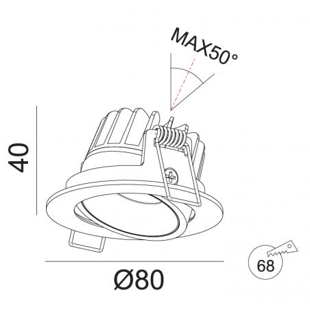 Įmontuojamas reguliuojamas LED šviestuvas GABRIEL R1364 6W, 3000K, 36°