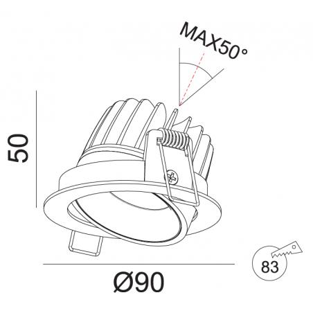 Įmontuojamas reguliuojamas LED šviestuvas GABRIEL R1365 10W,3000K, 60°