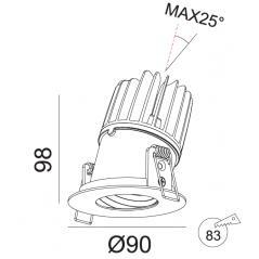 Įmontuojamas reguliuojamas LED šviestuvas ANGELO R1239, 15W, 3000K, 40°