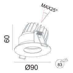 Įmontuojamas reguliuojamas LED šviestuvas ANGELO R1029, 10W, 3000K, 24°