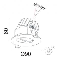 Įmontuojamas reguliuojamas LED šviestuvas ANGELO R1030, 10W, 3000K, 24°