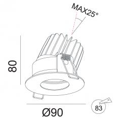 Įmontuojamas reguliuojamas LED šviestuvas ANGELO R1234, 15W, 3000K, 24°