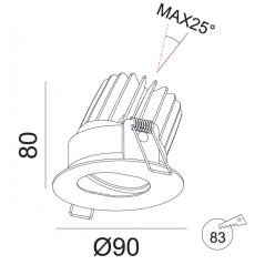 Įmontuojamas reguliuojamas LED šviestuvas ANGELO R1235, 15W, 3000K, 24°