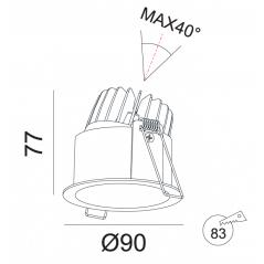 Įmontuojamas reguliuojamas LED šviestuvas ANGELO R1031, 10W, 3000K, 60°