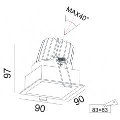 Įmontuojamas reguliuojamas LED šviestuvas ANGELO R1237, 15W, 3000K, 60°
