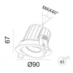 Įmontuojamas reguliuojamas LED šviestuvas NOBLE R1232, 15W, 3000K, 4000K, 60°