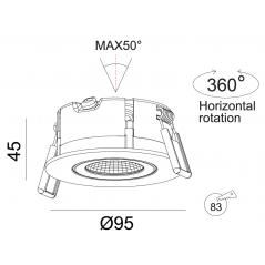 Įmontuojamas reguliuojamas LED šviestuvas LILITH R1351, 8W, 3000K, 4000K, 60°, IP44