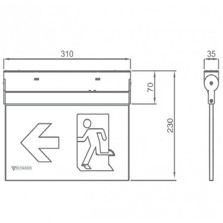 Universalus lubinis / sieninis evakuacinis šviestuvas VLT-EX16DC