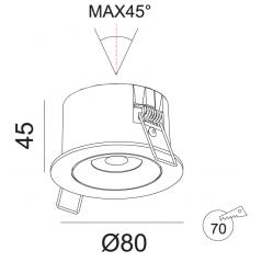 Įmontuojamas reguliuojamas LED šviestuvas LILITH R1318, 7W, 3000K, 50°