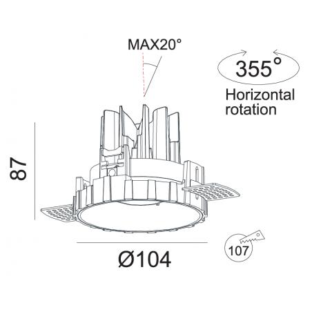 Užglaistomas reguliuojamas LED šviestuvas RAFAEL R1271 15W, 3000K, 50°