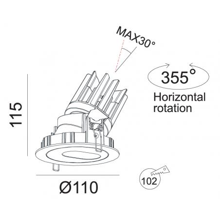 Įleidžiamas reguliuojamas LED šviestuvas RAFAEL R1277 15W, 3000K, 30°