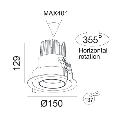 Įleidžiamas reguliuojamas LED šviestuvas GRAND R1042 25W, 3000K, 45°