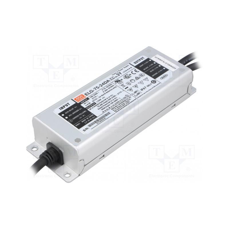 Impulsinis maitinimo šaltinis LED 24V 3.15A 75W, valdomas DALI, PFC, IP67, Mean Well  - 1