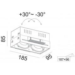Užglaisomas reguliuojamas LED šviestuvas GLOBAL R1055 2x10W, 60°, 3000K