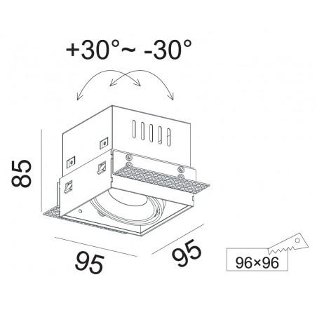 Užglaistomas reguliuojamas LED šviestuvas GLOBAL R1054 10W, 60°, 3000K
