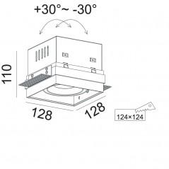Užglaistomas reguliuojamas LED šviestuvas GLOBAL R1070 15W/18W, 50°, 3000K